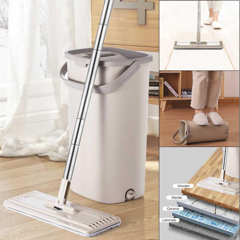 ممسحة ناعمة سحرية ودلو يدوي 360 درجة رأس التنظيف الذاتي رائعة للتنظيف الرطب والجاف آمنة على جميع الأسطح التنظيف