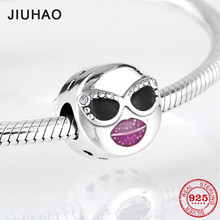 925 Sterling Silver Summer Fashion Lady charms beads with Sunglasses Fit Original Pandora Charm Bracelet Bangles Jewelry making(China)