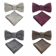 JEMYGINS 2018 New Fashion Purple 100%Wool Luxury Vintage European Men Bowtie&Pocket Square Suit Free Shipping Party Show Necktie(China)