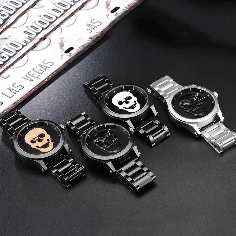高級スカルメンズ腕時計スチームパンクリロイ hombre レーザー彫刻ステンレス鋼クォーツメンズ男性腕時計時計レロジオ Masculino