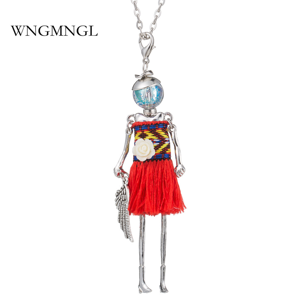 WNGMNGL 2018 New Design Style Charm 5 Colors Fringed skirt Cute Doll Pendant Long Chain Necklace For Women Fashion Jewelry Gift