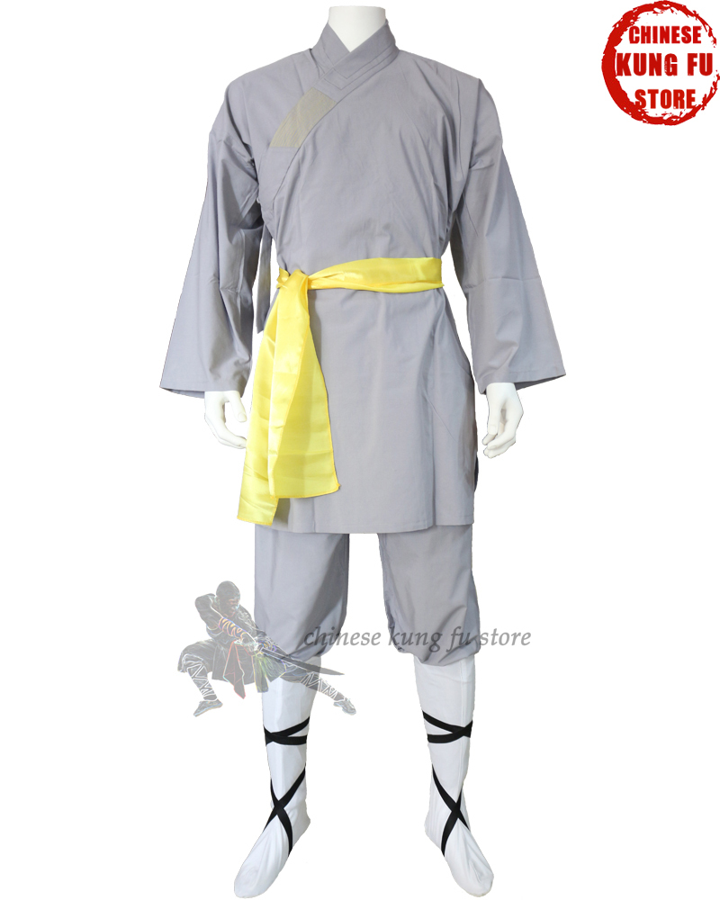 Popular Gray Cotton Shaolin Monk Robe Kung fu Seragam Wing Chun Martial arts Tai chi Suit