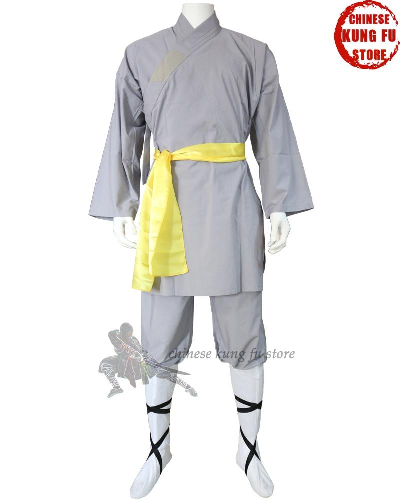 Popular Gray Cotton Shaolin Monk Robe Kung Fu Uniform Wing Chun Martial Arts Tai Chi Suit