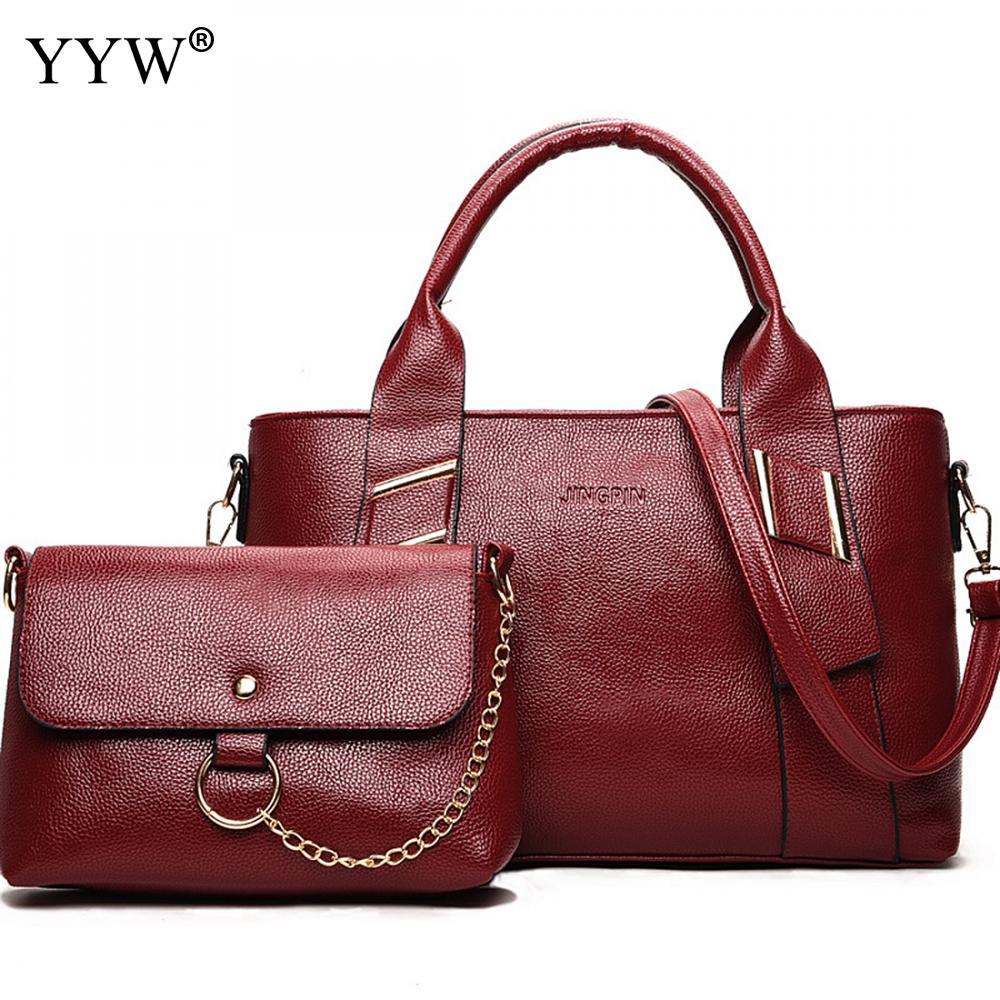 2 PCS/Set Solid Color PU Leather Handbags Women Bag Set Famous Brands Tote Bag Lady's Shoulder Crossbody Bags Bag Womens'Pouch