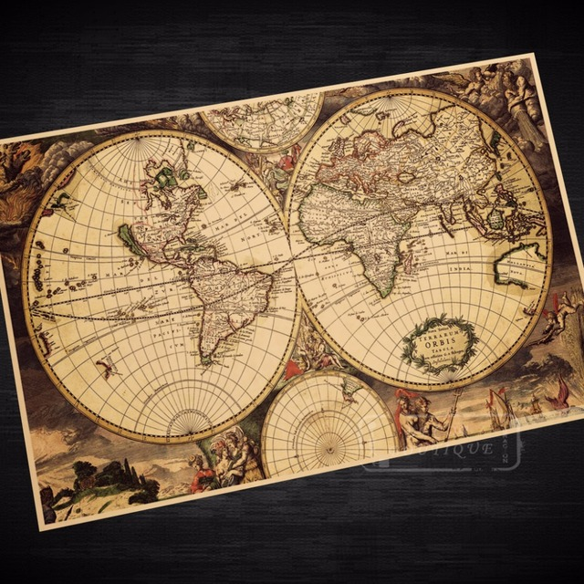 Navigation World Map.Navigation World Old Map Sailing Classic Vintage Retro Kraft Coated
