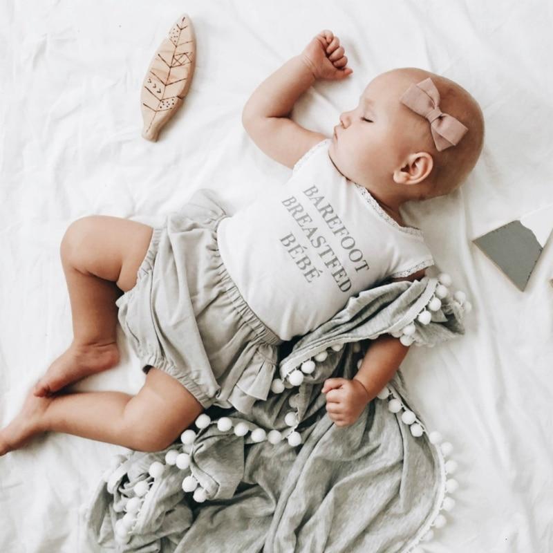 все цены на Simple soft elegant Baby Soft Muslin Swaddle Blankets Pom Pom Swaddle Wrap Newborn Photography Props