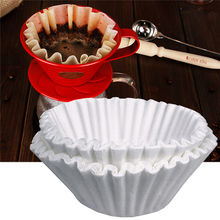 50pcs/Set White Coffee Filters Single Serving Paper for Coffee Machine 24CM White Filter Paper Cake Cup Coffee Filter Paper Bowl(China)