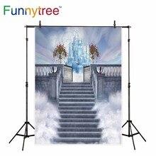 Funnytree backdrop para estúdio fotográfico castelo país das maravilhas nuvens flor escadas fundo magia impresso photobooth