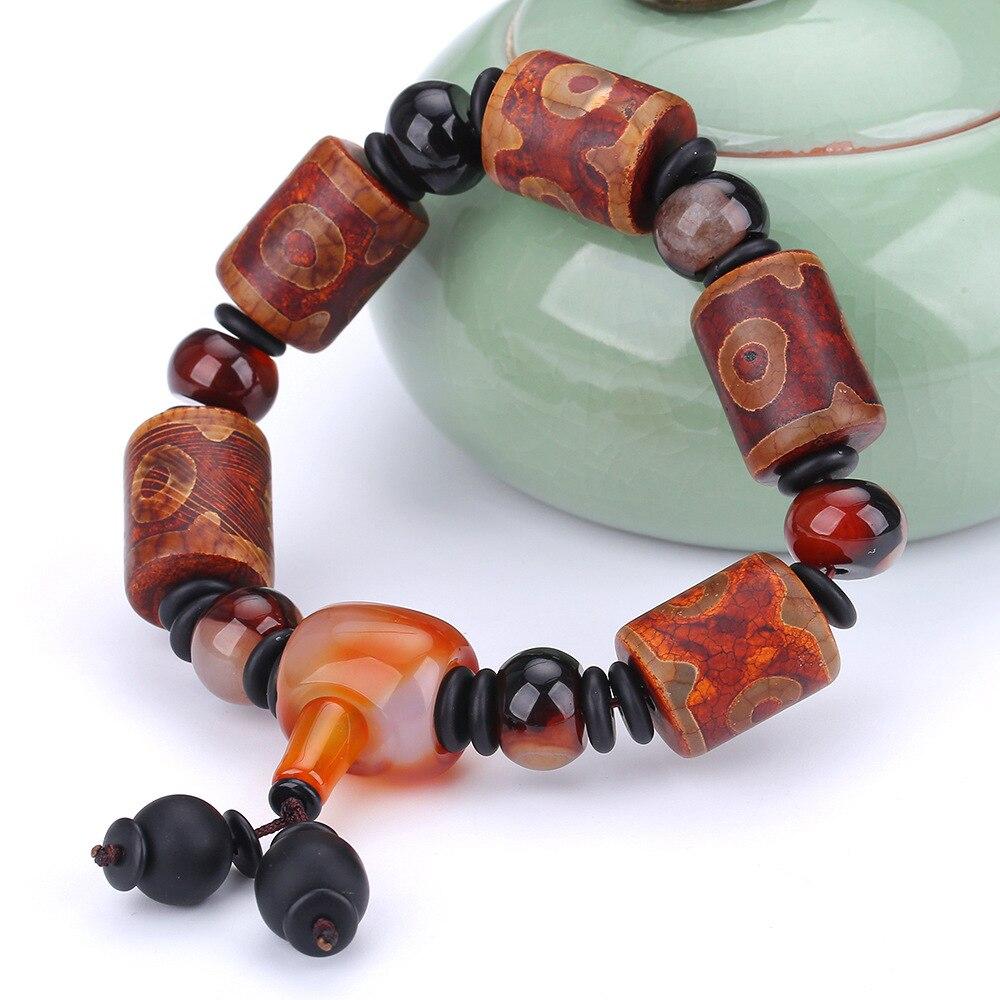 Natural Stone Bracelet Tibet Dzi Black Agate Beads Obsidian Stone Bracelet Jewelry For Women Gift Men Bracelet Jewelry Charm black agate bead bracelet 17cm