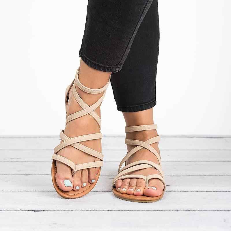 2019 yaz yeni kadın sandalet çapraz bağlı fermuar kadın ayakkabı ayak bileği kayışı düz sandalet roma plaj bayan sandalet artı boyutu 35-43