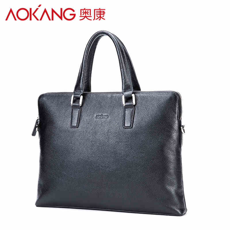 Aokang 2017 Men business briefcase bags Black blue Men's genuine Leather men's handbags Male sacoche Homme Free Shipping 10pcs set colorful cosmetic foundation powder purple nylon wool hair brush eyeshadow brush makeup brush sets kits