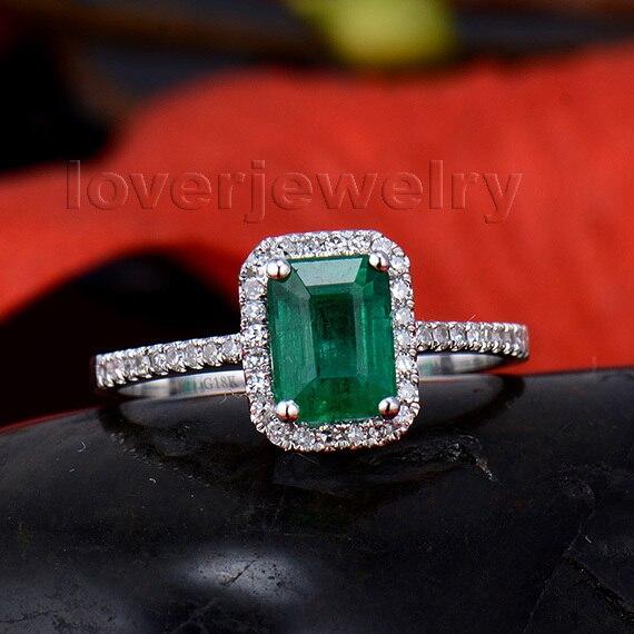 Ювелирные украшения из натуральной 100% натуральный изумруд 18kt белого золота Обручение бриллиантами Юбилей кольцо для Для женщин Изумрудный