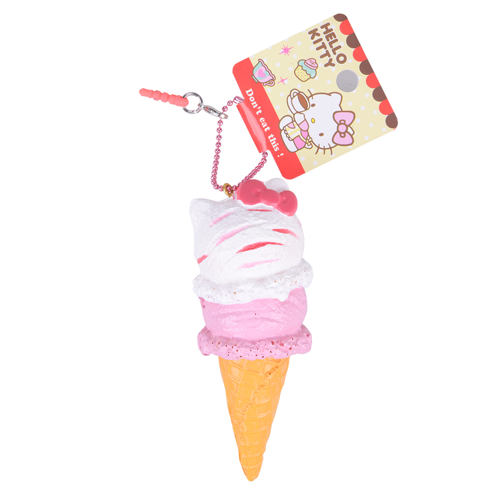 1Pcs Retail 10CM Ice Cream Cone Squishys Pachet original original Rare Hello Kitty Squishy Toys licențiat Soft PU jucării Charm Chain