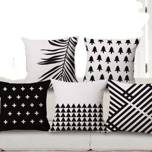 "Square 18"" White And Black Geometric Cushion Cover Decorative Cushion Covers Vintage Home Decor Christmas Cushions"