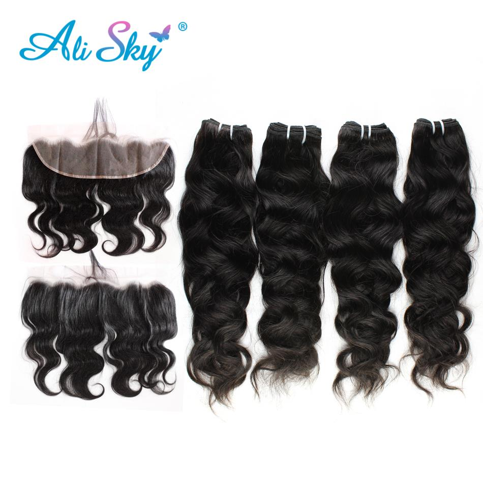 Ali Sky Indian Non-Remy Hair Natural Wave 4bundles with lace frontal13*4 Plucked Natural Hairline Baby Hair 100% Human Hair