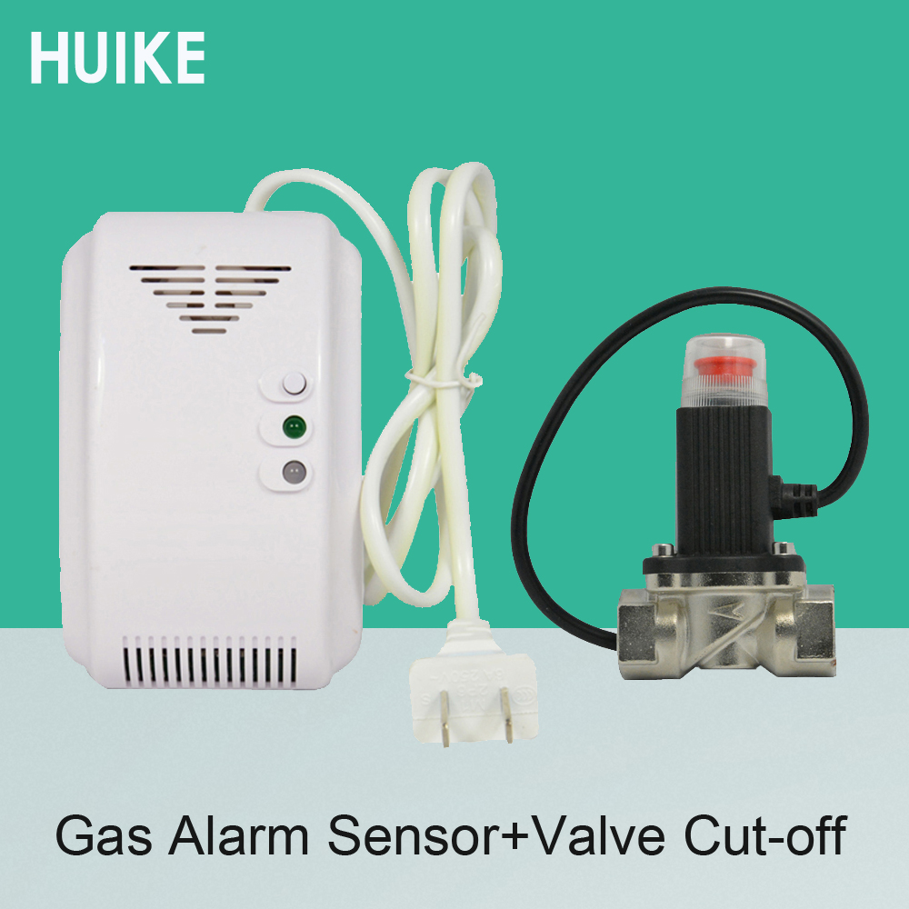 1 PCS 220VAC Combustible Gas Alarm Include Valve Cut Off Gas Leaking Coal Natural LPG Gas leak detector DN15 Kitchen Safe Device ja8801a safety off valve kitchen wireless alarm thermal leak detector timing natural gas autoalarm self cut system valve ball