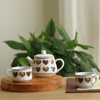 Cold water jug ceramic kettle set 3 piece suit a suspicious tea cup with high temperature are