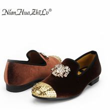 New Loafers Leather Men Casual Shoes Men Velvet Shoes Brown Business With Gold Buckle Wedding and Party Dress Shoes piergitar 2018 new black patent leather men loafers with gold luxurious embroidery fashion party and wedding men s dress shoes