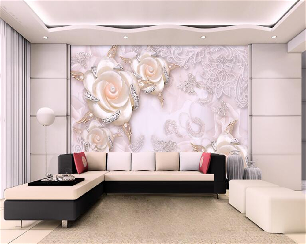 3D Wallpaper For Home Beibehang 3D Pink Pearl Three Flowers Jewelry Background Wall 3D