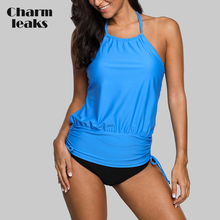 Charmleaks Women Tankini Set Swimsuit Push Up Swimwear Bandage Vintage Bathing Suit Beachwear Bikini