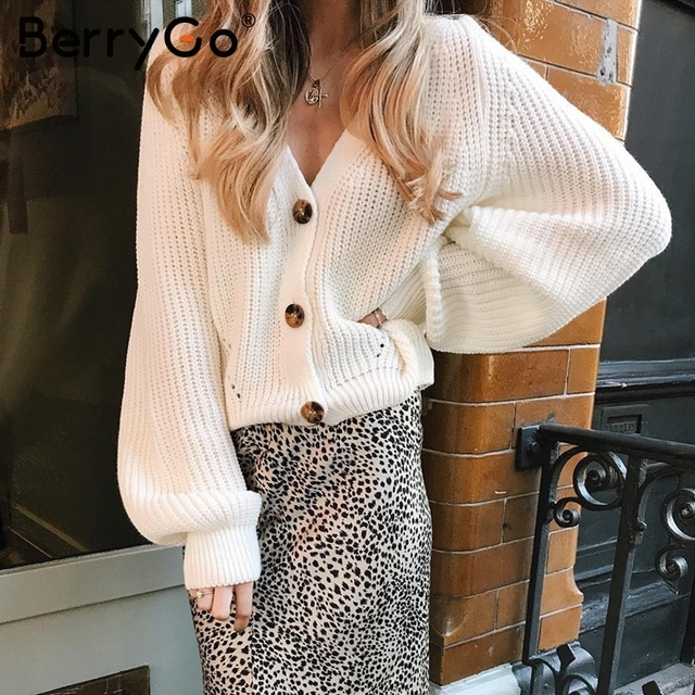BerryGo Sexy v-neck women knitted cardigan Casual button bat sleeve white sweater cardigan Autumn winter loose knit sweater coat 5