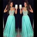 Charming 2016 New Sexy Halter Neckline Summer Turquoise Beaded Chiffon Prom Dresses Long Evening Party Dress vestido de festa