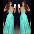Charming 2016 New Sexy Halter Neckline Summer Turquoise Beaded Chiffon Prom Dresses Long Evening Party Dress vestido de festa