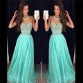 Encanto 2016 nueva Sexy escote Halter verano Turquoise cuentas gasa vestidos largos de noche vestido de fiesta vestido de festa
