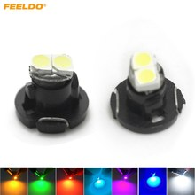 FEELDO 2Pcs T4.2 2SMD 1210 3528 2LED Dashboard Meter Panel Light Bulb Putih/Merah/Biru/Hijau/Kuning/Pink/Es Biru # AM4771(China)