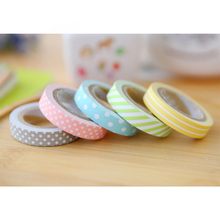 5pcs/pack Candy Color Rainbow Striped Dots Washi Tape Set Decorative Label Masking Sticker Tape
