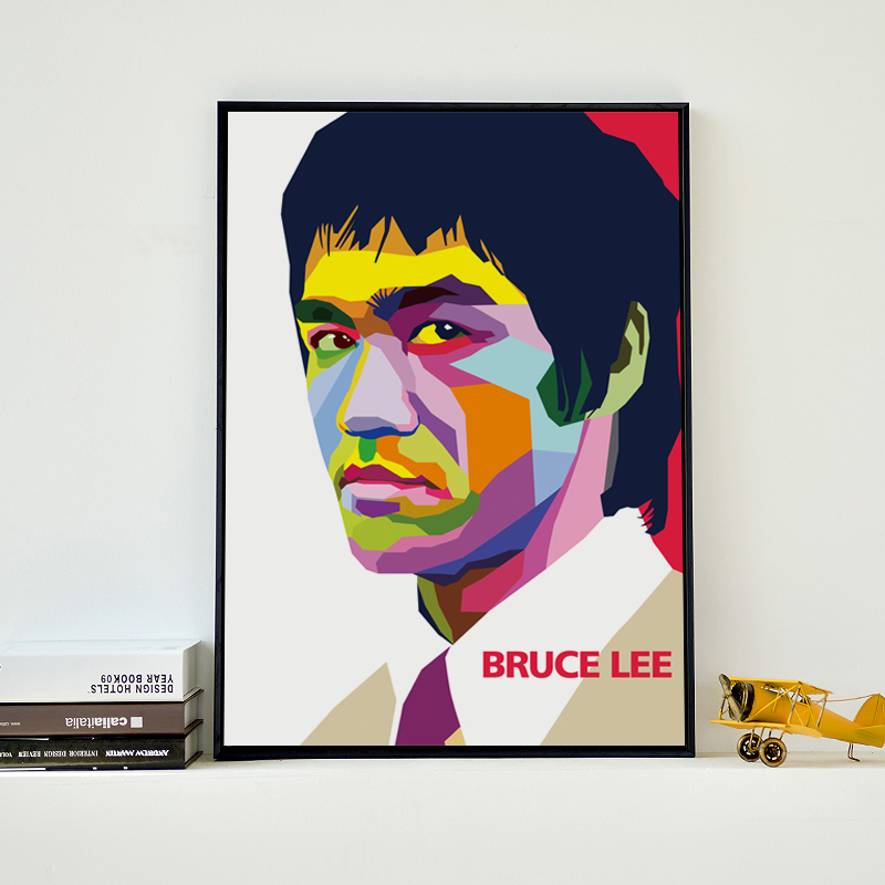 Bianche Wall Modern Abstract Kung Fu star Bruce Lee Canvas Painting Art Print Poster Picture Wall Painting Home Decoration Mural