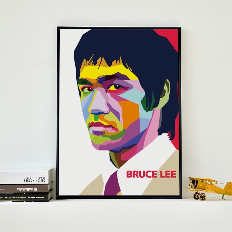 Moderne Abstracte Kung Fu ster Bruce Lee Canvas Schilderij Kunstdruk - Huisdecoratie