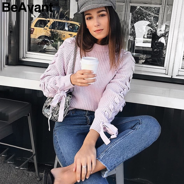 BeAvant Lace up knitted sweater 3