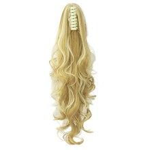 Soowee Длинные Волнистые Клип В Волос Кусок Расширения Блондинка Черный Конский Хвост Синтетические Волосы Коготь Хвост