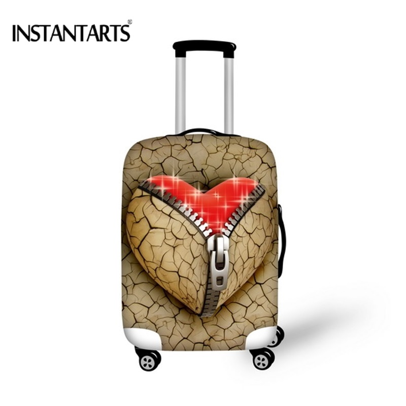 INSTANTARTS Zipper Heart Printing Luggage Waterproof Covers For 18-30 Inch Suitcase Fashion Travel Accessories Dust Rain Cover