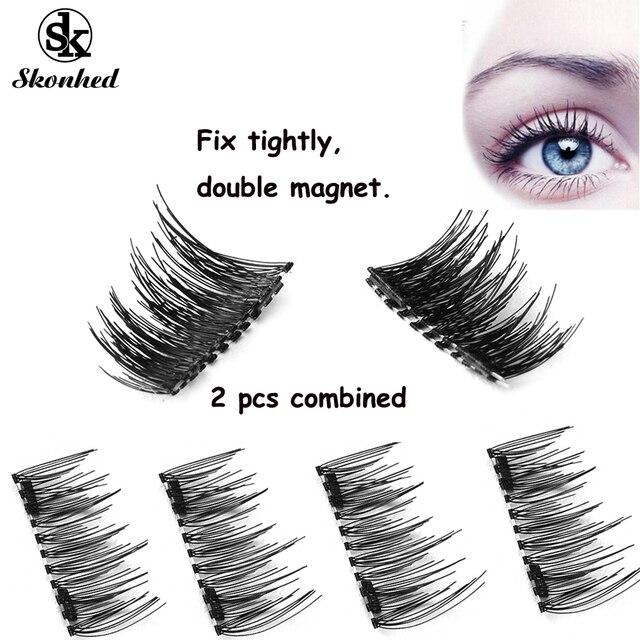 04159a405ab SKONHED Charming 4 Pcs Lashes/Set New Triple Magnet False Eyelashes  Extension Tools Natural Full Strips Lashes No Glue