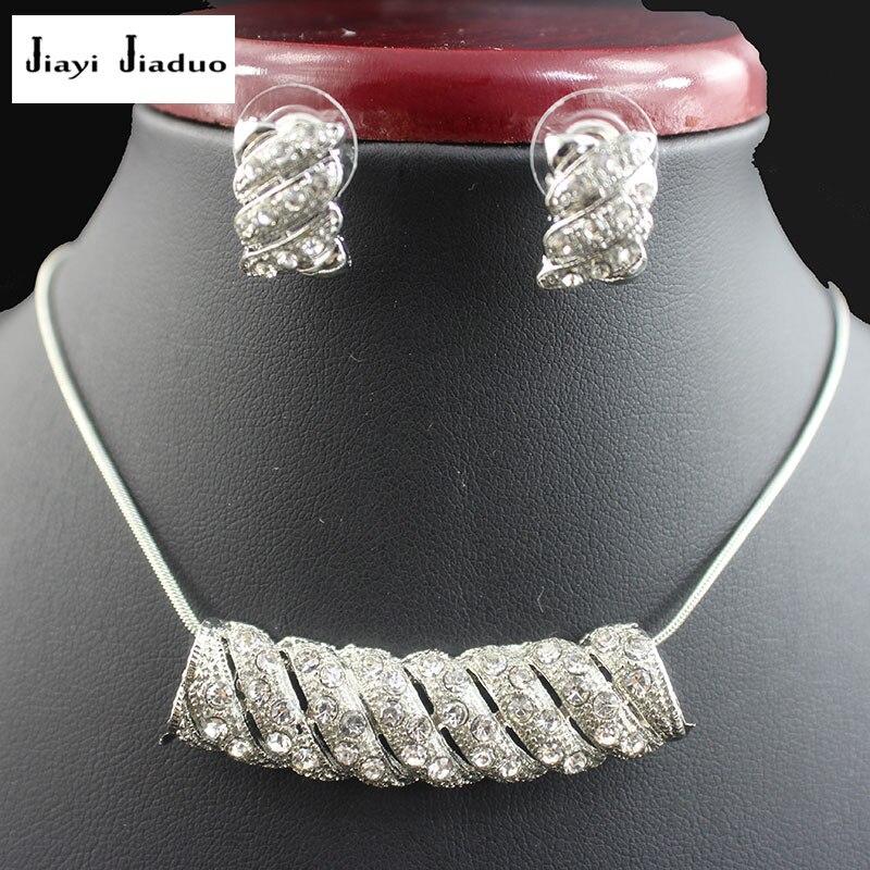 Jiayijiaduo Braut Anhänger Schmuck Set Für Schöne Frauen Silber Farbe Halskette Ohrringe Party Geschenk Liebe Hochzeit