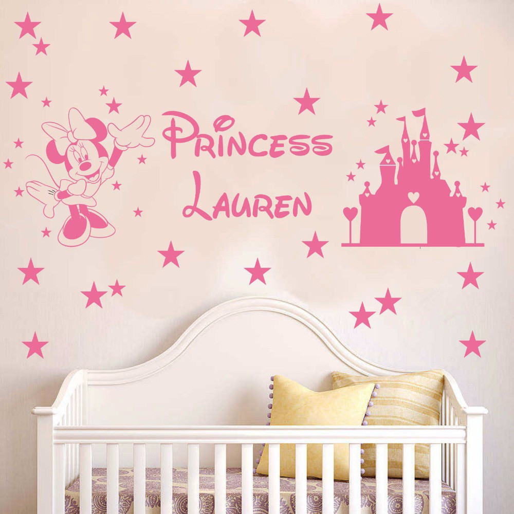 personalised wall decals promotion shop for promotional mickey mouse wall decal personalised name princess kid s sticker art home decor in the girl s bedroom wall decoration 30x100cm