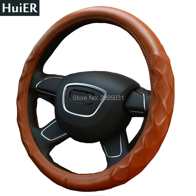 Hot Sale 38CM Car Steering Wheel Cover High Quality Artificial Lambskin Leather  Anti-Slip Steering Wheel Protector Car Covers
