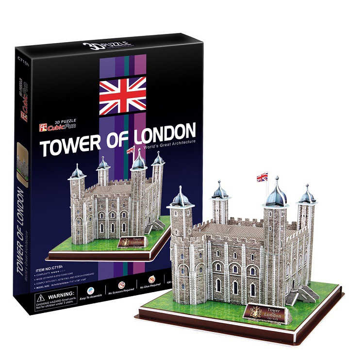 3D Model Mainan Moonar 3D Model Kertas Jigsaw Permainan Menara London C715h