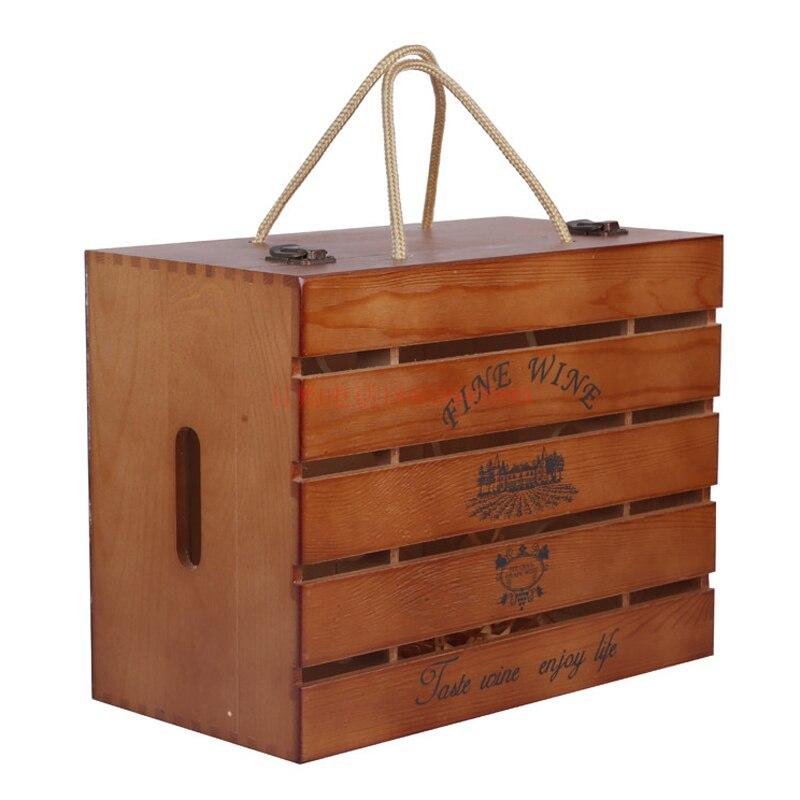cajas de vino de madera de seis cargado de pintura de alto grado de madera antigua