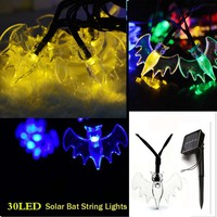 Halloween 6M 30LED Fairy Bat Solar String Lights Outdoor Christmas Home Patio Garde Balcony Wedding Holiday