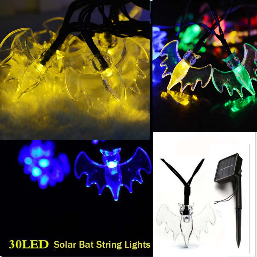 Halloween 6M 30LED Fairy Bat Solar String Lights Outdoor Christmas Home Patio Garde Balcony Wedding Holiday Party Festival Decor