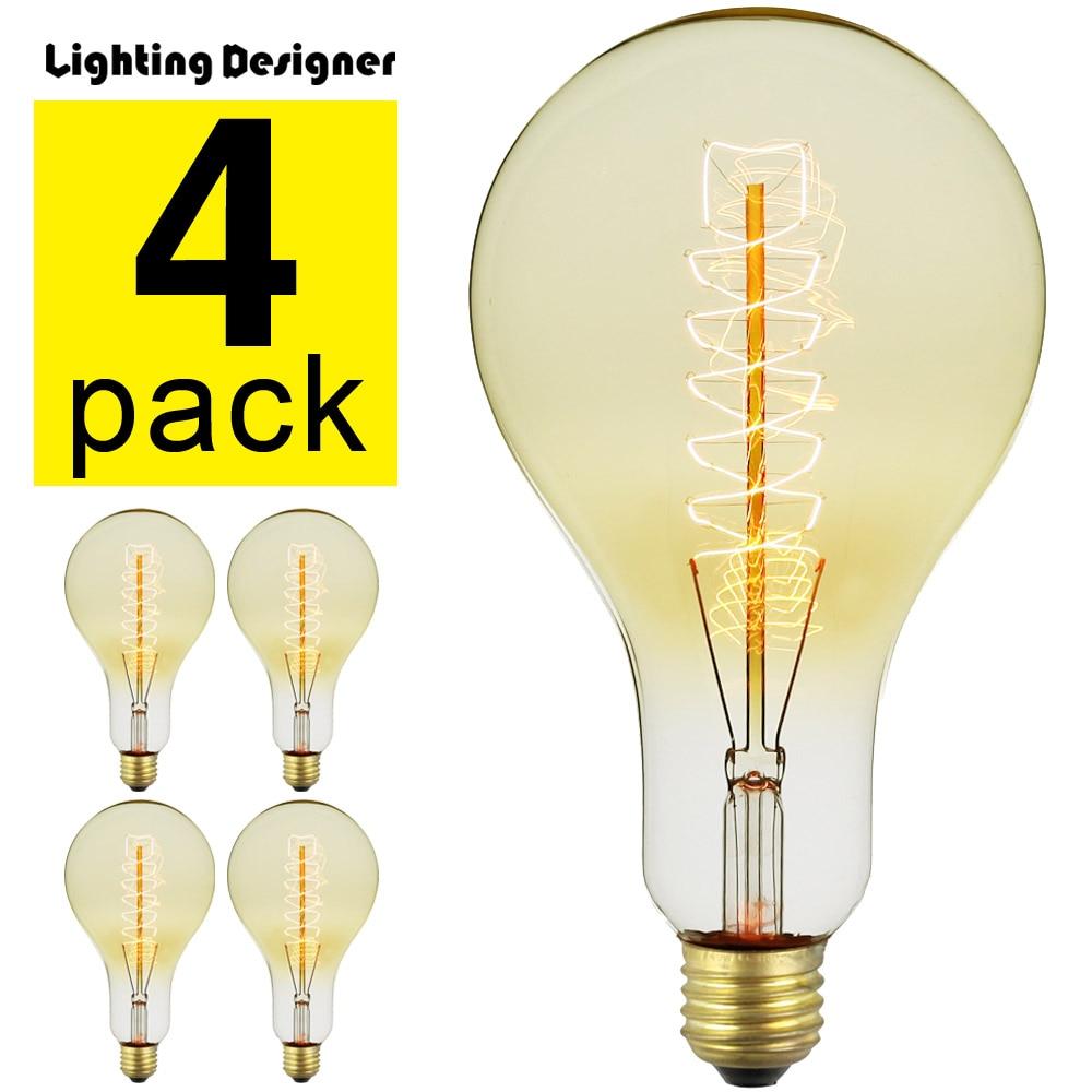 4Pieces Pack Edison Bulb Vintage Incandescent Light Bulb 40Watts 220 240V E27 Pear Decorative Light Bulb