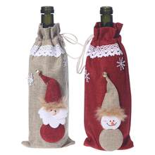 Wine Bottle Cover Christmas Santa Claus Style Drawstring Wine Carrier Bag Holder Home Party Bar Table Decor Candy Gift Wrap(China)