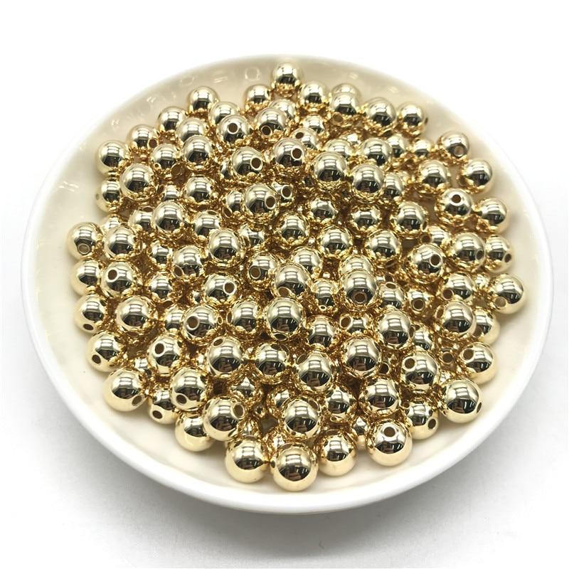 3 4 6 8 10 12 мм 30-500 шт золото/серебро/Пистолет-металлическое покрытие CCB Круглые бусины для изготовления ювелирных изделий DIY