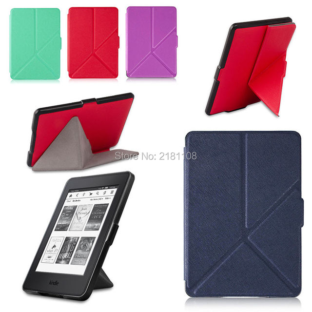 new styles c600e e513f US $9.99 |Textured Origami Stand Leather Case Cover For Kindle  Paperwhite(2012 2016)-in Tablets & e-Books Case from Computer & Office on  ...