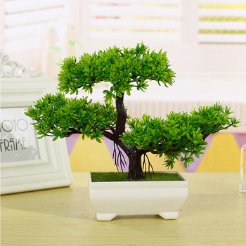 Multicolor Artificial Plant Small Tree Potted Plants Fake Bonsai Guest-Greeting Pine Tree Home Ornament Office Hotel Decoration Artificial Plants Departments