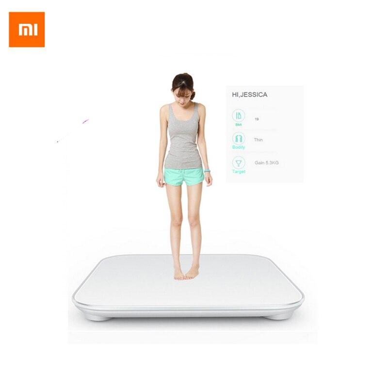 100% Original Xiaomi escala Mi inteligente salud peso MiScale electrónica Bluetooth4.0 perder peso escala Digital blanco