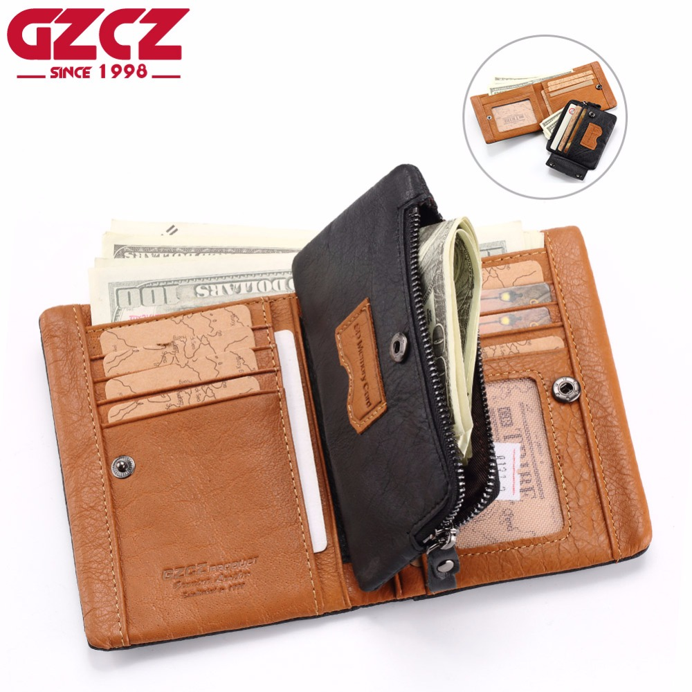 GZCZ Wallet Men Genuine Leather Man Walet Card Holder Portomonee Small Valet Male Clutch Luxury Brand Crazy Horse Money Bag 2018 gzcz genuine leather female zipper wallet women coin purse small woman walet portomonee rfid lady money bag id card holder perse